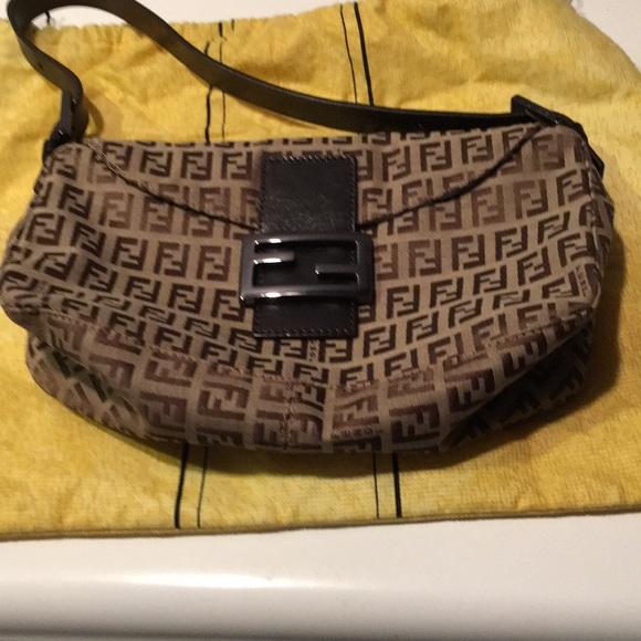 23c3df23a191 Fendi zucca beige brown canvas shoulder bag